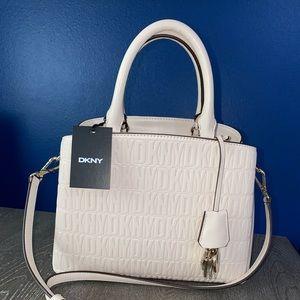 DKNY Signature Paige MD Satchel Beige Shoulder Bag